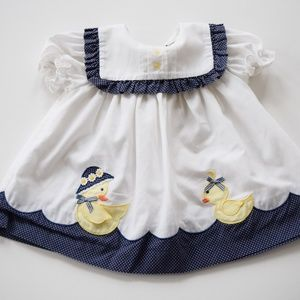 Vintage b.t. Kids 6-9 Month Duck Dress White Navy